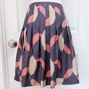 Club Monaco silk leaf print pleated a-line skirt